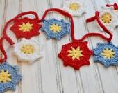 Crochet Flower Garland - Bunting - Festive Summer Flower - Holiday Decoration - Nursery Decor