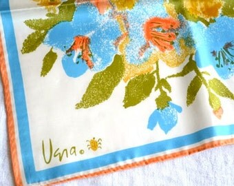 Vintage Vera Scarf - Hibiscus in Coral and Blue