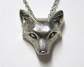 "Fox Necklace Pendant Fox Charm Woodland Snow Fox on 20"" inch Metal Chain, Sterling Silver .925"
