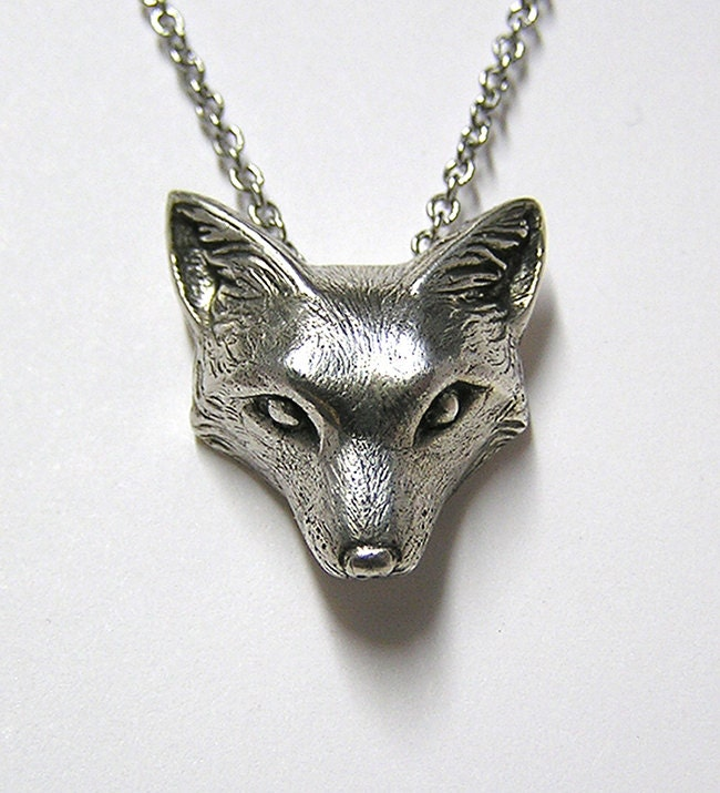 fox necklace pendant fox charm woodland snow fox on 20