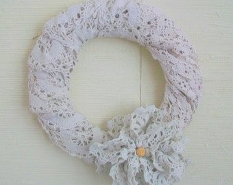 Rustic Wedding wreath Country chic Wedding decor Reclaimed vintage lace Farmhouse chic decor