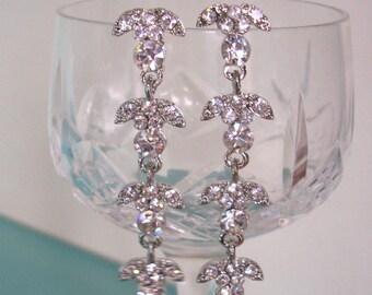 Crystal Bridal Earrings, Rhinestone Earrings, Wedding Earrings, Crystal Chandelier, Diamante Jewelry, Vintage Bridal