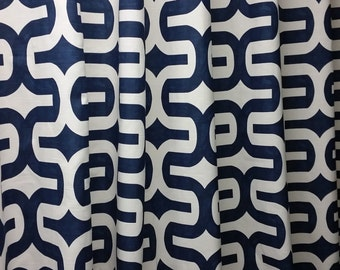 Pair of designer curtain panels, drapes, large geometric print Embrace, navy blue and white,