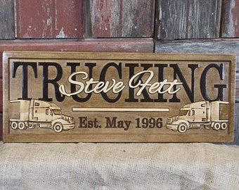 Personalized Family Business last name sign Tractor Trailer Semi Truck CARVED Custom Wood 3D Anniversary Wedding Gift Retirement Gift Plaque