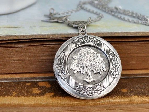 silver locket necklace, TREE OF LIFE antiqued silver tree locket necklace