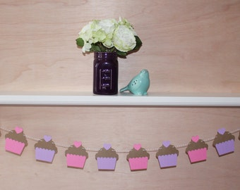 Cupcake Garland - Custom Colors - Baby Shower, Birthday Party Decoration or Home Decor