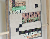 Modern Holiday Train Travel, A Rustic Linen Patchwork Quilted Table Runner