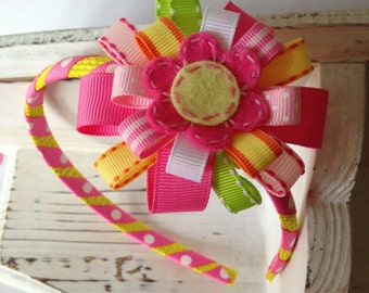 Flower Headband with Removable Bow