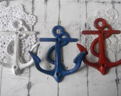 wall hooks trio beach house anchor wall hooks red white blue americana nautical cottage chic country shabby chic union jack colours