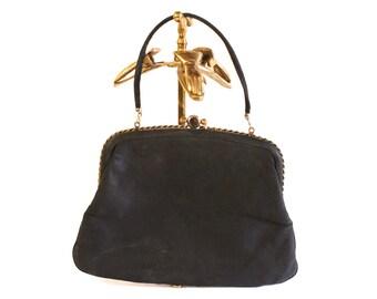 Vintage 1960s Black Satin Clutch evening purse