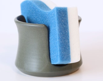 Grey Matte Ceramic Sponge Holder | Made to Order