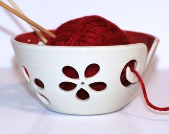 Red flower Yarn Bowl / Yarn Bowl / Knitting Bowl / Crochet Bowl / Red Yarn Bowl / White Yarn Bowl / 6 inch Yarn Bowl / Made to Order