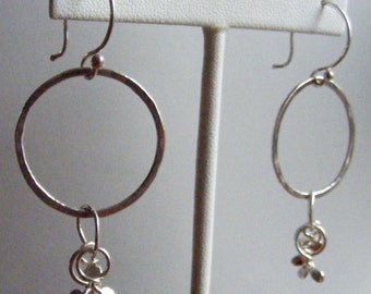 Playful Hand Forged Fine Silver Hoop and Dangles