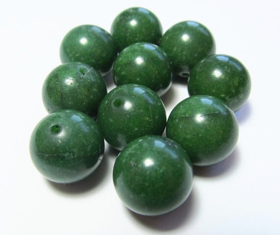 Round Green Marble : Forest green stone marble round beads mm