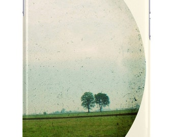 iPhone Case Landscape Two Trees Circle Crop Cream Green Blue Vintage Photography