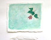 Green Seedling Collage- Original Mixed Media Art- Small Original Art- Tree Seedling, Maple Leaf- Soft Green, Red, Pink