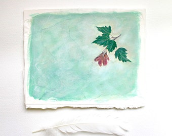 Greenery Collage- Original Mixed Media Art- Tree Seedling, Maple Leaf- Soft Green, Red, Pink