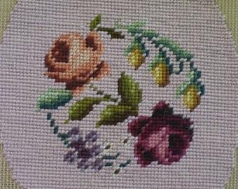 Oval Needlepoint Flowers Vintage 1950s–1970s