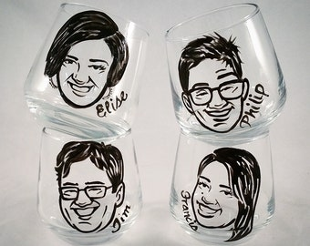 Custom Vintage Inspired Cartoon Shot Glasses - Cool Groomsmen Gift