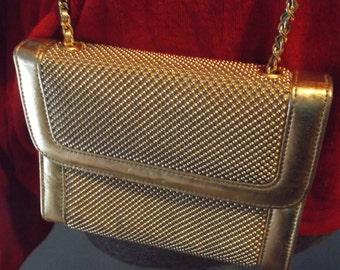 Whiting And Davis International Gold Bead Mesh  Cross Body Bag Surray