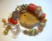 Mixed Gemstone Bead Bracelet Copper Antiqued Silver Brass Boho Chic , Earth Colors