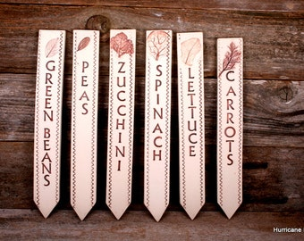 12 Long, Thick, & Sturdy, Ceramic Plant Markers. Easy to Read. Durable. Made to Order Plant Labels. Garden Markers.