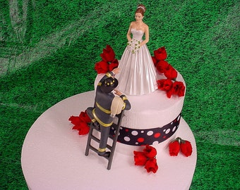 Elegant Bride and Fireman to the Rescue Groom Firefighter Wedding Cake Topper Fire Hot Romantic Couple Personalized Figurines Mr Mrs - 3