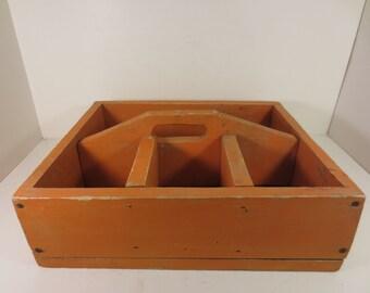 Vintage Primitive Orange Wood Toolbox - Tote