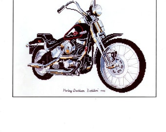 Harley Davidson Evolution Motorcycle Springer Softback Counted Cross Stitch Embroidery Craft Pattern Leaflet