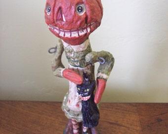 Halloween Poliwoggs by Salamander Figurine Pumpkin Head with Black Cat