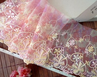 Embroidered lace, Floral lace trim, Flower girls' lace, Wedding lace, Embellishing lace, Lace trim,  2 yards PT022
