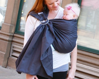 Prestige Ring Sling Baby Sling Baby Carrier - Slate Grey - Instructional DVD Included - FAST SHIPPING