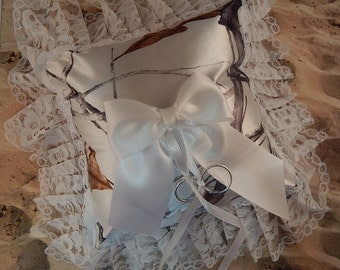 Snow Camo Camouflage Satin Square Lace White Bow Wedding Ring Bearer Pillow