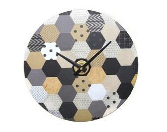 Black and Tan Honeycomb Wall Clock - Unique Wall Decor - Geometric Wall Clock - Country Chic Wall Clock - Hexagon Pattern Wall Clock - 1533