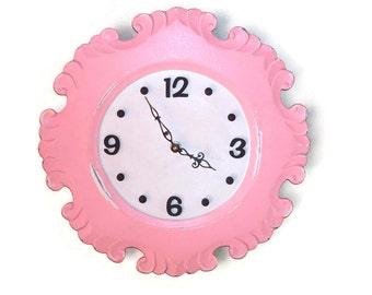 Choice of Color - Ballerina Pink Cottage Chic Wall Clock - Large Wall Clock - Unique Wall Clock - Unique Wall Decor - Nursery Decor - 1743