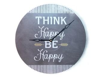Think Happy Be Happy Gray Wall Clock - Unique Wall Clock - Typographical Wall Clock  - Large Wall Clock - Unique Wall Decor - 1773