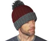 Xavier Mens Ski Hat Chunky Brioche Rib Thick Hand Knit Thermal Beanie Burgundy Wine Garnet Grey Wool Large Pompom M/L L/Xl Gift Wrapped