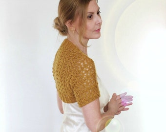 Lace Shrug Wedding Bolero Mia Bridal Cover Up Mustard Bridesmaid Cashmere Merino Yellow Gold Mesh Hand Knit Short Sleeves Size XS S M L