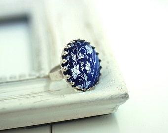 Oriental Tiles Adjustable Silver Ring