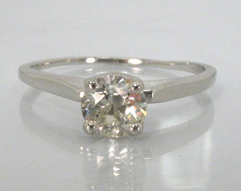 Vintage European Cut Diamond Engagement Ring - 0.76 Carat Solitaire - Retail Appraisal Included