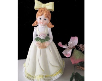 Large GIRL BELL / FIGURINE * Yellow Bow And Pink Rose