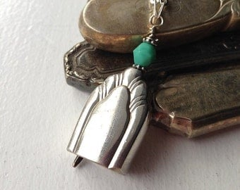 Antique butter knife bell pendant necklace with bluegreen bead upcycled repurposed silverwear jewelry