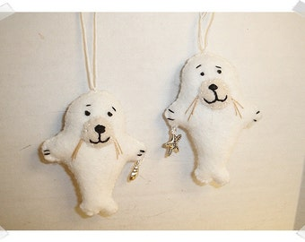 White Seal Ornament/ Made of Felt/ Handmade/ MADE to Order**