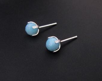 Small Amazonite Stud Earrings, Sterling Silver Earrings, Studs, Jewelry, Gift