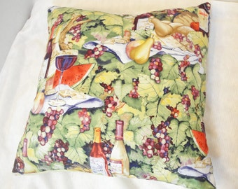 "Vineyard pillow cover, wine, cheese, green leaves, purple grapes, picnic scene, 14 inches, 12"", 20 inches"