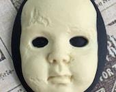 Creepy Baby Doll Cameos 40x30mm, Bone on Black
