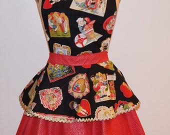 Vintage valentine theme print in 2 layer retro style women's apron.