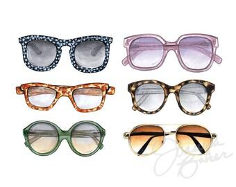 Sunglasses Illustration Art Print / Fashion Illustration Sketch, Fashion Sketch Art, Fashion Art Print, Fashion Wall Art,Sunglasses Wall Art