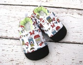 SALE Organic Vegan Fox in the Henhouse lightweight / non-slip soft sole baby shoes /  made to order / babies toddlers