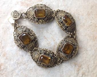 SALE!  Old European Amber Glass Bracelet  Price Reduced!